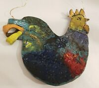 Rooster Pottery Chicken Hen Wall Hanging Art Farm Decor Handcrafted Clay Ceramic