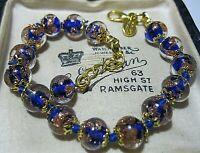 Cobalt Blue Venetian Italian Murano Glass Gold Foil Bead Vintage Style BRACELET