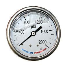 """Oil Filled Pressure Gauge 2000 PSI 2-1/2"""" Dial 1/4"""" NPT Rear Mount G7122-2000"""
