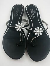 Black Silver Size 8.5 M Crystal Flower Flat Sandal Shoes by Sbicca