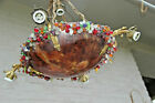 Antique French Chandelier alabaster Amber bowl murano glass grape floral rim