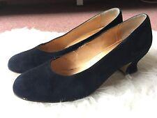 Vintage Laura Ashley Navy Blue Suede Leather Court Shoes Heels - EU 40 / UK 7