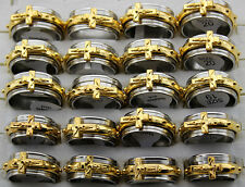 50pcs Wholesale Lots Cross Gold p Stainless Steel Men's Rotation Spin Rings