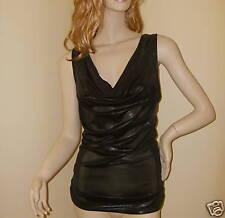 Womens Ladies Black Party Evening Top Sleeveless Drape Neck Size 10 EU 36