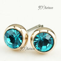EARRINGS STUD 9K GF YELLOW GOLD MADE WITH SWAROVSKI CRYSTAL 5MM METHYLENE BLUE