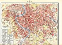 c. 1890 ITALY  ROME ROMA CITY PLAN  Antique Map