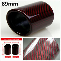 89mm Red And Twill Real Carbon Fiber Cover Car Exhaust Muffler Pipe Tip Housing