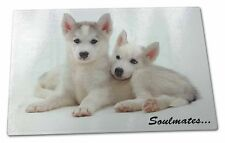 Husky Puppies 'Soulmates' Sentiment Extra Large Toughened Glass Cut, SOUL-35GCBL