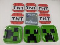 Minecraft TNT Creeper Birthday Party Pack Plates Tablecloth 9 Packs New