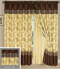 Luxury Lined Curtain Drapes Set +Valance Window Treatment 2 Panel 5 Colors Ocean