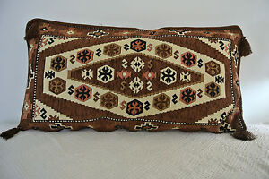 Turkish Anatolian Double Side Kilim Thick Pillow Cushion Hand Woven Nomad Madder