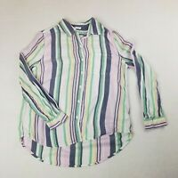 BEACH LUNCH LOUNGE Womens Medium Striped Button Front Blouse Top Collared Pastel