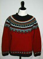 Eddie Bauer Wool Sweater Womens Medium Red Gray Nordic Fair Isle Pullover Knit