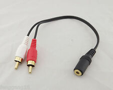 "Gold 3.5mm 1/8"" Stereo Female Mini Jack To 2 Male RCA Plug Adapter Audio Y Cable"