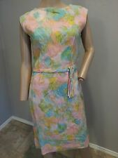 Vtg 50's Pastel Floral Watercolor Barkcloth Feel Pinup Easter Hourglass Dress