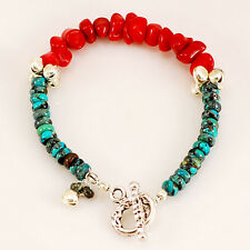 """Natural Turquoise & Coral Bracelet with Silver Toggle 8"""""""