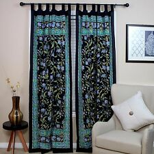 Handmade French Floral Tab Top Curtain 100% Cotton Drape Door Panel Black Blue