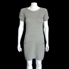 Theory 100% Cashmere Gray Short Sleeve Front Pockets Sweater Dress Sz - P /5952