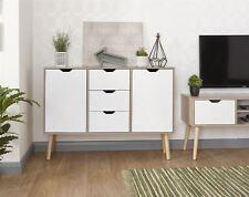 DESIGNER Sideboard 2 Door 3 Drawer Cupboard Oak Veneer Cabinet Solid Wood Legs