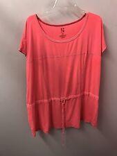 Woman's 1X 2X Boho Hot Pink Active  Tunic Cotton Knit Top Gym Yoga Shirt