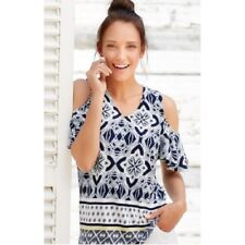 NEW Ex M&CO Cold Shoulder Mosaic Print Tunic Top sizes 10 12 14 16 18