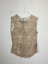 =ROMANTIC= RAQUEL ALLEGRA Blush Pink Floral Vintage French Lace Tank Top US6