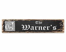 SPFN0344 The WARNER'S Family Name Street Chic Sign Home Decor Gift Ideas