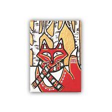 Original Red Fox ACEO Fox Art Winter Painting on Canvas Woodland Animals