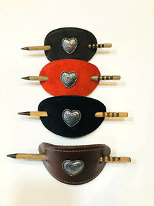 """Leather Barrette w/Slide Stick & Silver Heart 4"""" by 2 1/4 """" Four Varieties NICE!"""