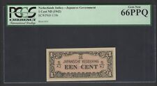 Netherlands Indies - Japanese One Cent ND(1942) P119b S/AJ Uncirculated Graded66