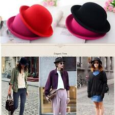 Women Men Fashion Vintage Bowler Top Hat Roll Brim Derby Fedora Dome Cap New