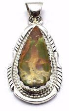 Navajo Handmade Sterling Silver Royston Turquoise Pendant - Elouise Kee