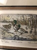 "Miniature Colored Etching Titled ""Keeping Watch"" Artist Signed T. Callahan 3/5"