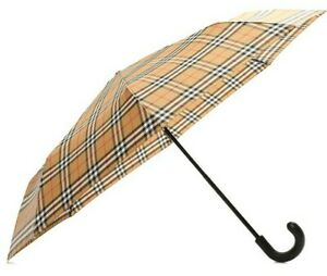 Burberry Trafalgar Vintage Check Beige Brown Folding Umbrella Mens
