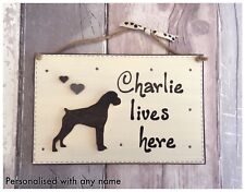 Personalised Boxer Dog Name Sign Dog Lives Here Welcome Plaque Wooden -Handmade