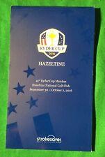 Ryder Cuo Yardage book Hazeltine 2016 Golf Memorabillia.NEW