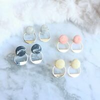 Handmade Polymer Clay Marble Button Stud Earrings