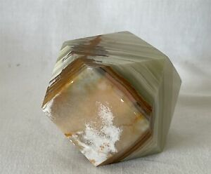 Vintage Stirated Pale Green Onyx Geometric Stone Paperweight Ornament