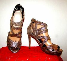 DKNY MARCEY RED METALLIC BRONZE STRAPPY PLATFORM BACK ZIP STILETTOS SZ 9.5/40.5