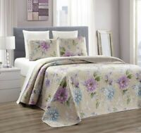 Taupe Blue Purple Flower Quilt Reversible Bedspread FULL / QUEEN Size Coverlet