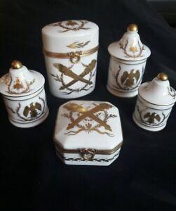 Napoleon III style Gilt Porcelain & Brass Toiletries Set