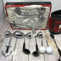 Vtg Golf Bag Clubs Irons & Wood Cocktail Drink Bar Tool Set Mid Century Barware