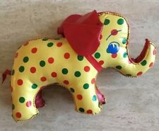 Vintage Vinyl Stuffed Child's/Baby/Infant Toy Elephant Polka Dot Mid-Century