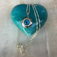 925 Sterling Silver Blue eye CZ Evil  Protection Pendant  Necklace 20'inche