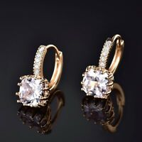 Diamond Cut Radiant White Sapphire Crystal Gold Leverback Earrings Party Jewelry