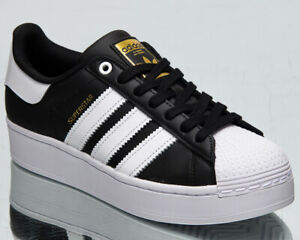 adidas Originals Superstar Bold Women's Black White Gold Lifestyle Sneakers Shoe