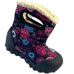 BOGS Toddler Girls Snow Boot Garden Waterproof Faux Fur Black Pink 7 US New
