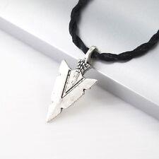 Vintage Silver Native American ArrowHeads Pendant Black Tribal Choker Necklace