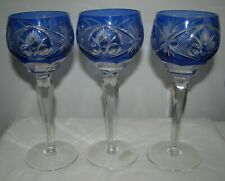 3 CUT TO CLEAR LEAD CRYSTAL goblets German blue vintage 8""