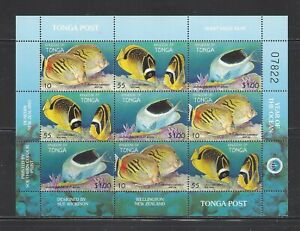 TONGA - 1008 - SHT OF 9 - MNH - 1998 - FISH - INT'L YEAR OF THE OCEAN